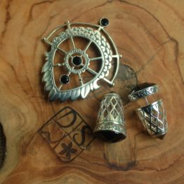 Silver Earrings and Brooch, Wings of Peace, DSW Jewellery Bali