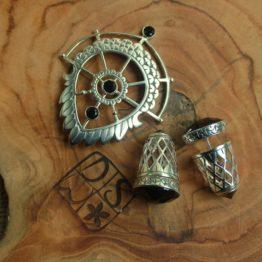 Silver Earrings and Brooch, Wings of Peace, DSW Jewellery Bali